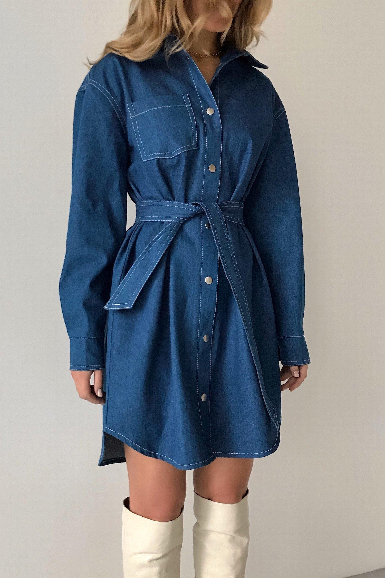 Платье-рубашка из денима - THE LACE