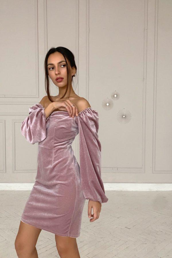 Платье мини из бархата с блестками пудровое - THE LACE