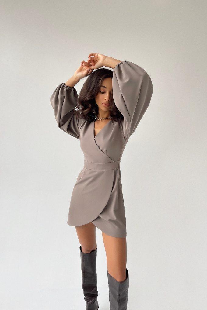 Платье мини с объемным рукавом серое - THE LACE