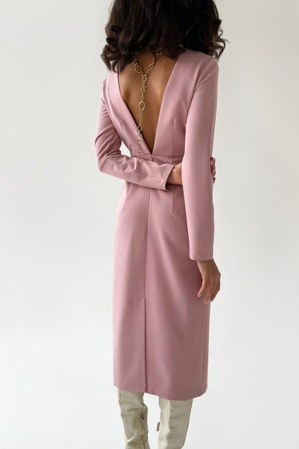 Платье миди с вырезом по спине розовое - THE LACE
