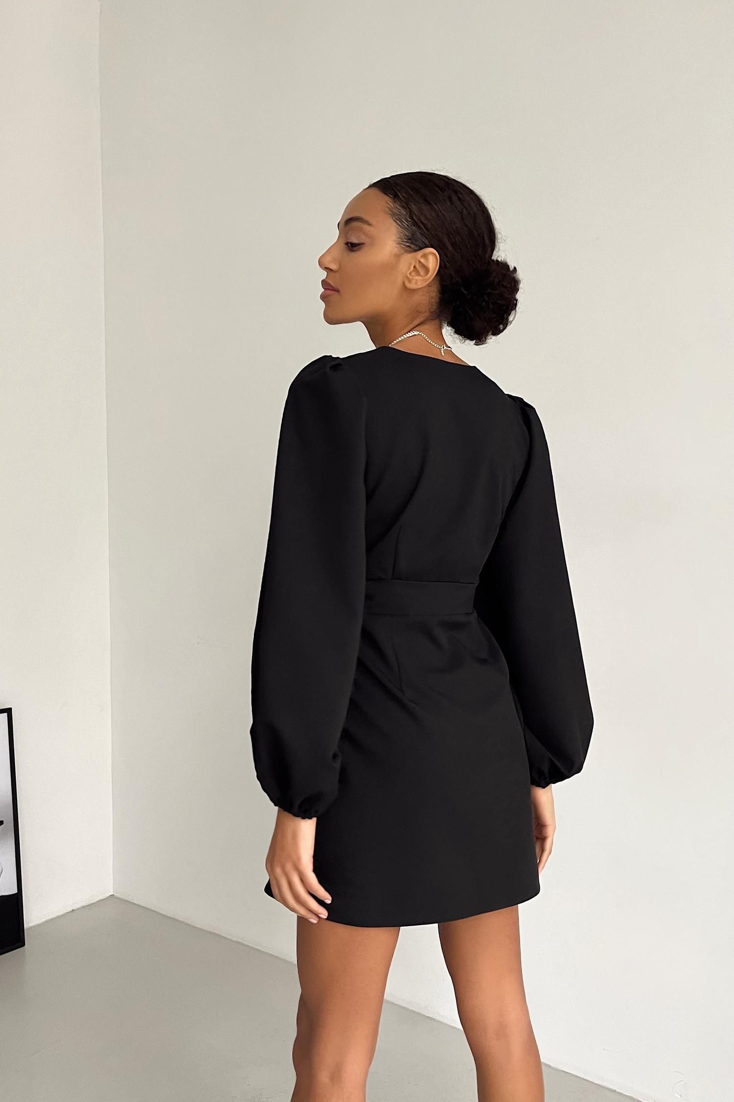 Платье мини с объемным рукавом черное - THE LACE