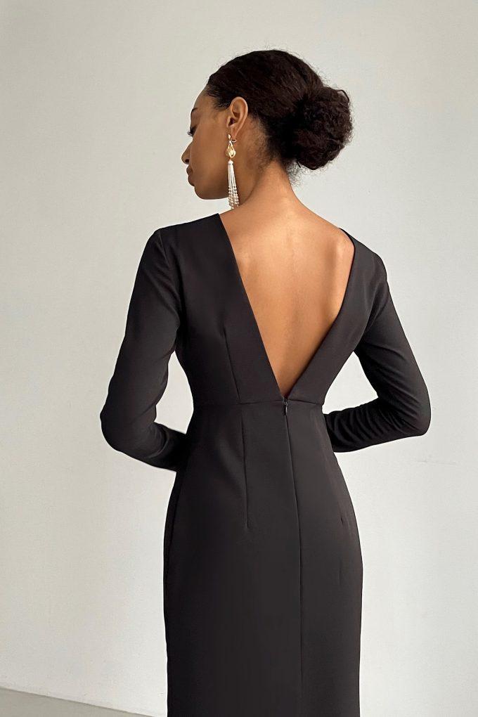 Платье миди с вырезом по спине черное - THE LACE