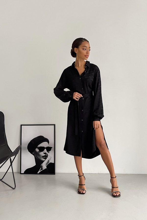 Платье-рубашка черное Leo - THE LACE