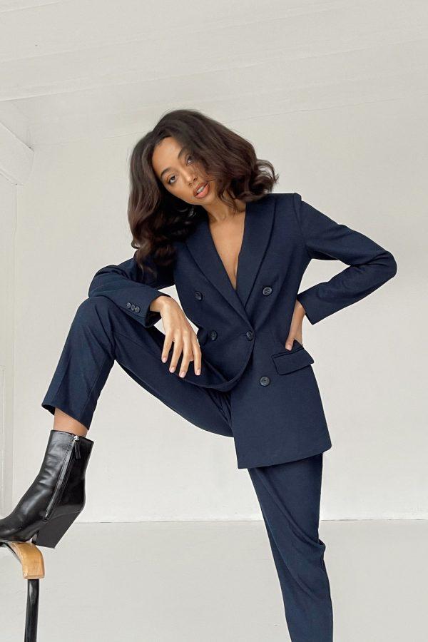 Шерстяной костюм с брюками синий - THE LACE