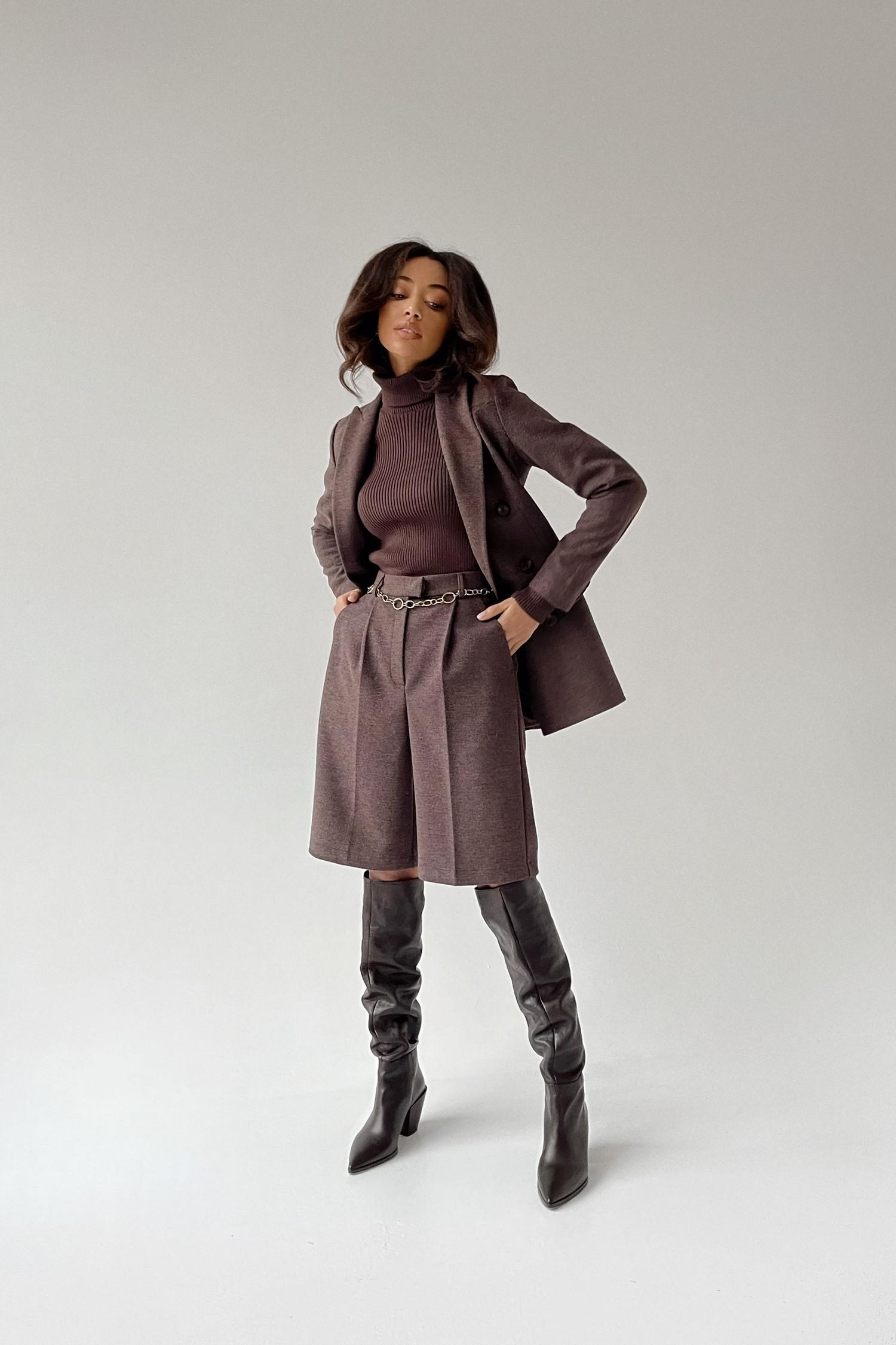 Шерстяной костюм с бермудами шоколадный - THE LACE