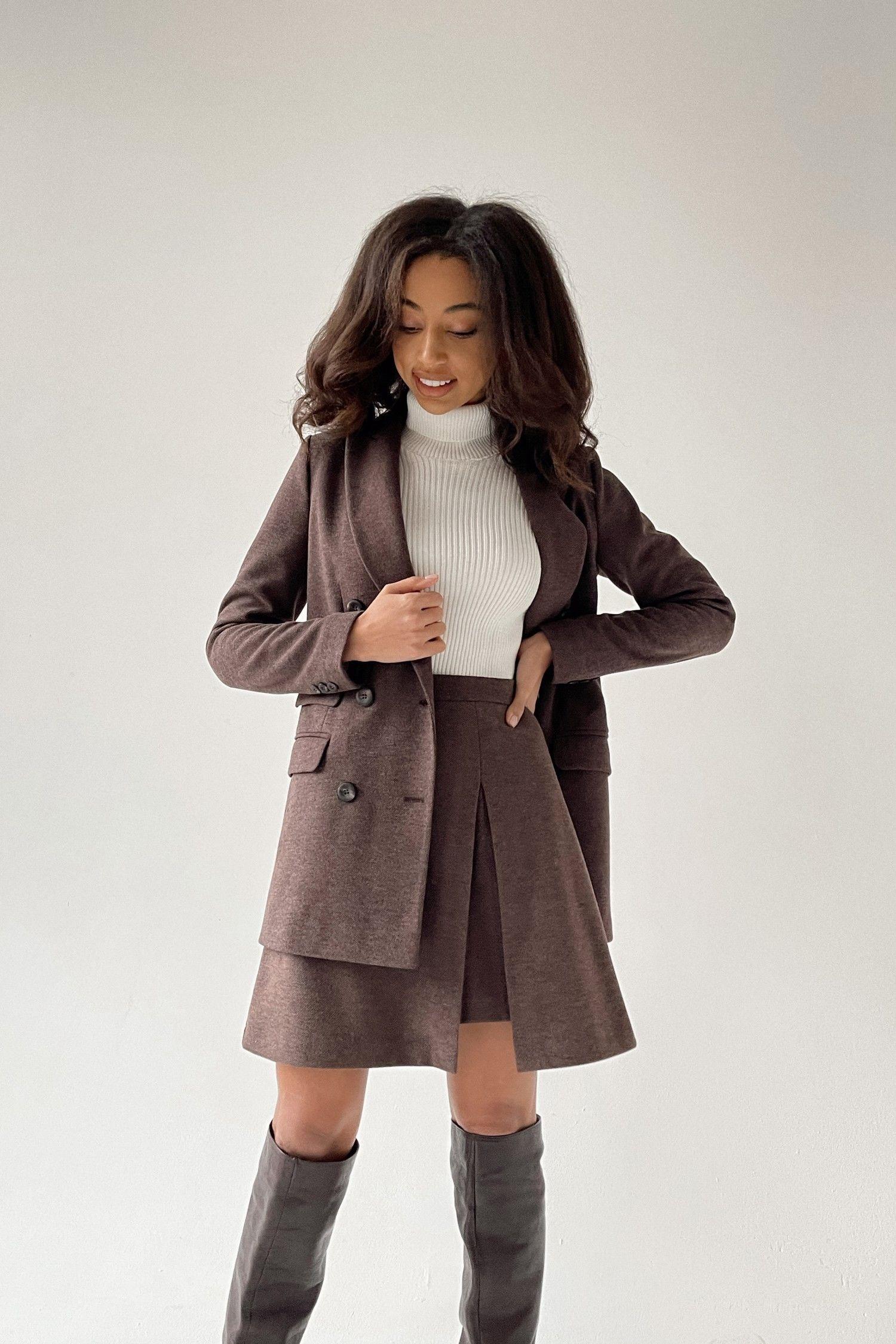 Шерстяной костюм с юбкой шоколадный - THE LACE