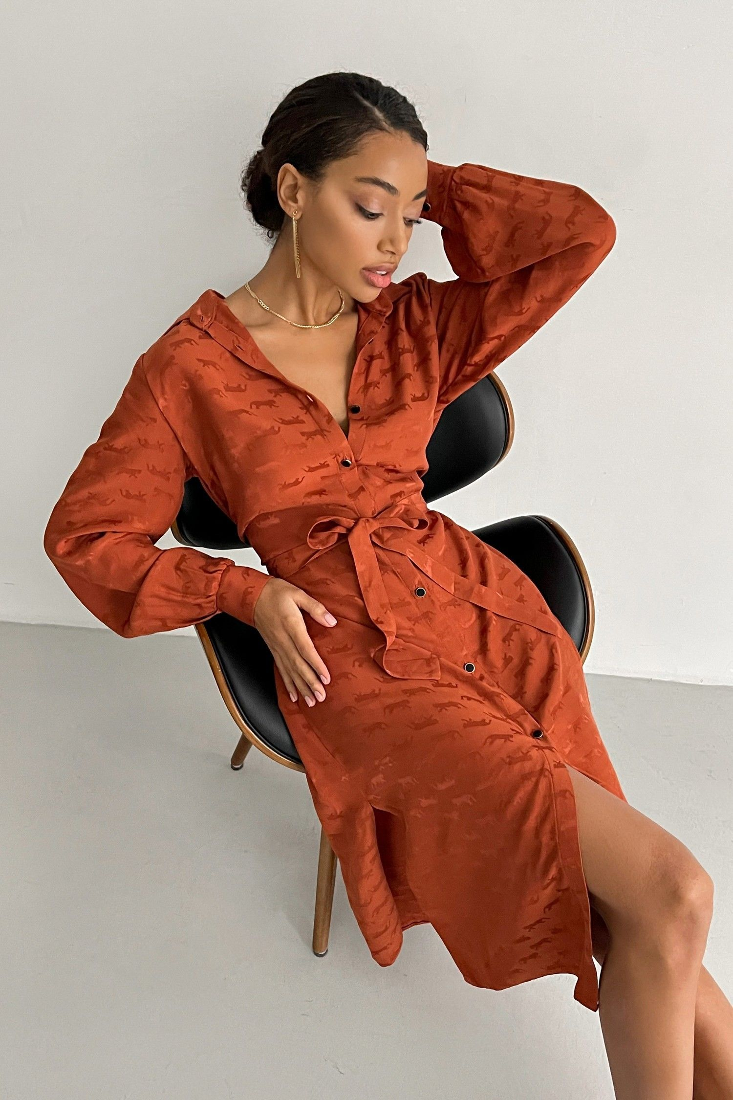 Платье-рубашка терракотовое Leo - THE LACE