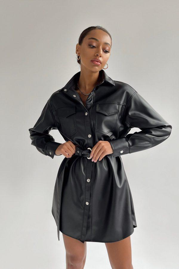 Платье-рубашка из эко-кожи черное - THE LACE