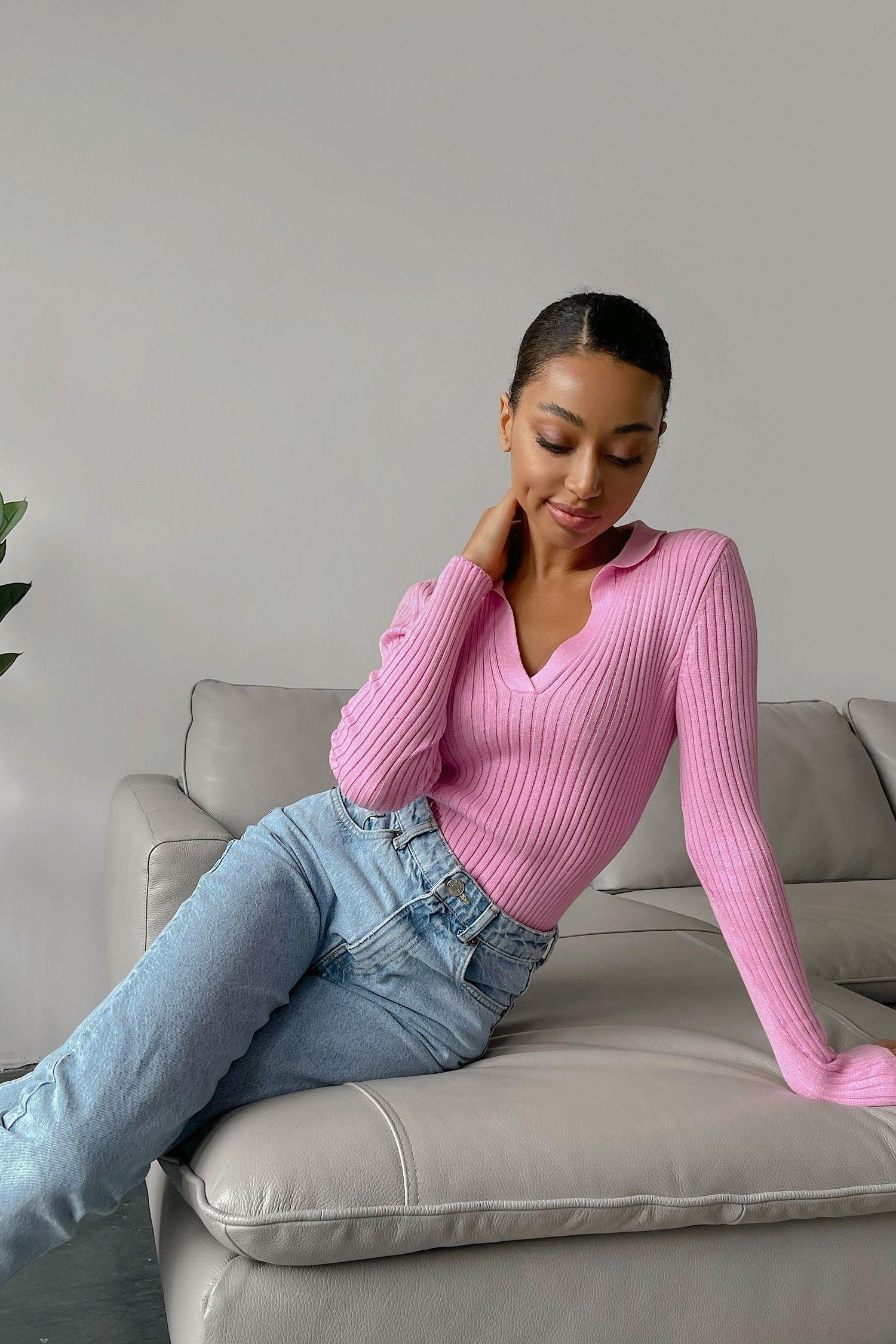 Джемпер поло розовый - THE LACE
