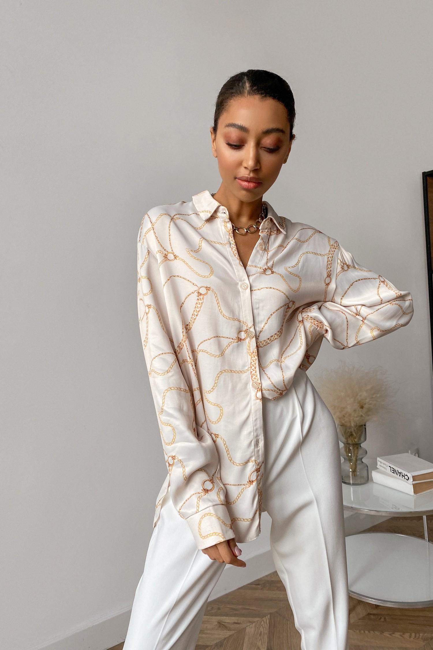 Рубашка с принтом цепи молочная - THE LACE