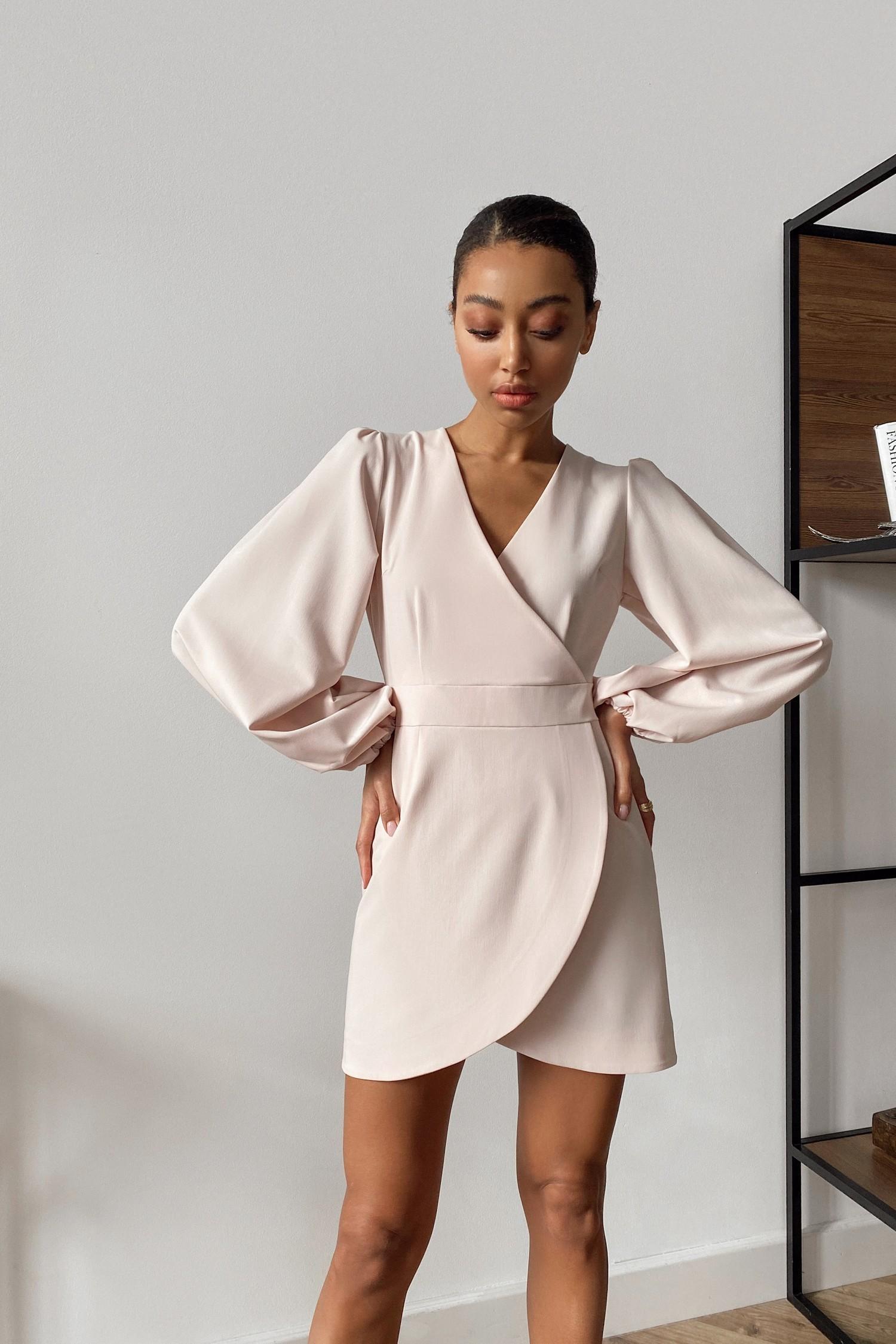 Платье мини с объемным рукавом розовое - THE LACE