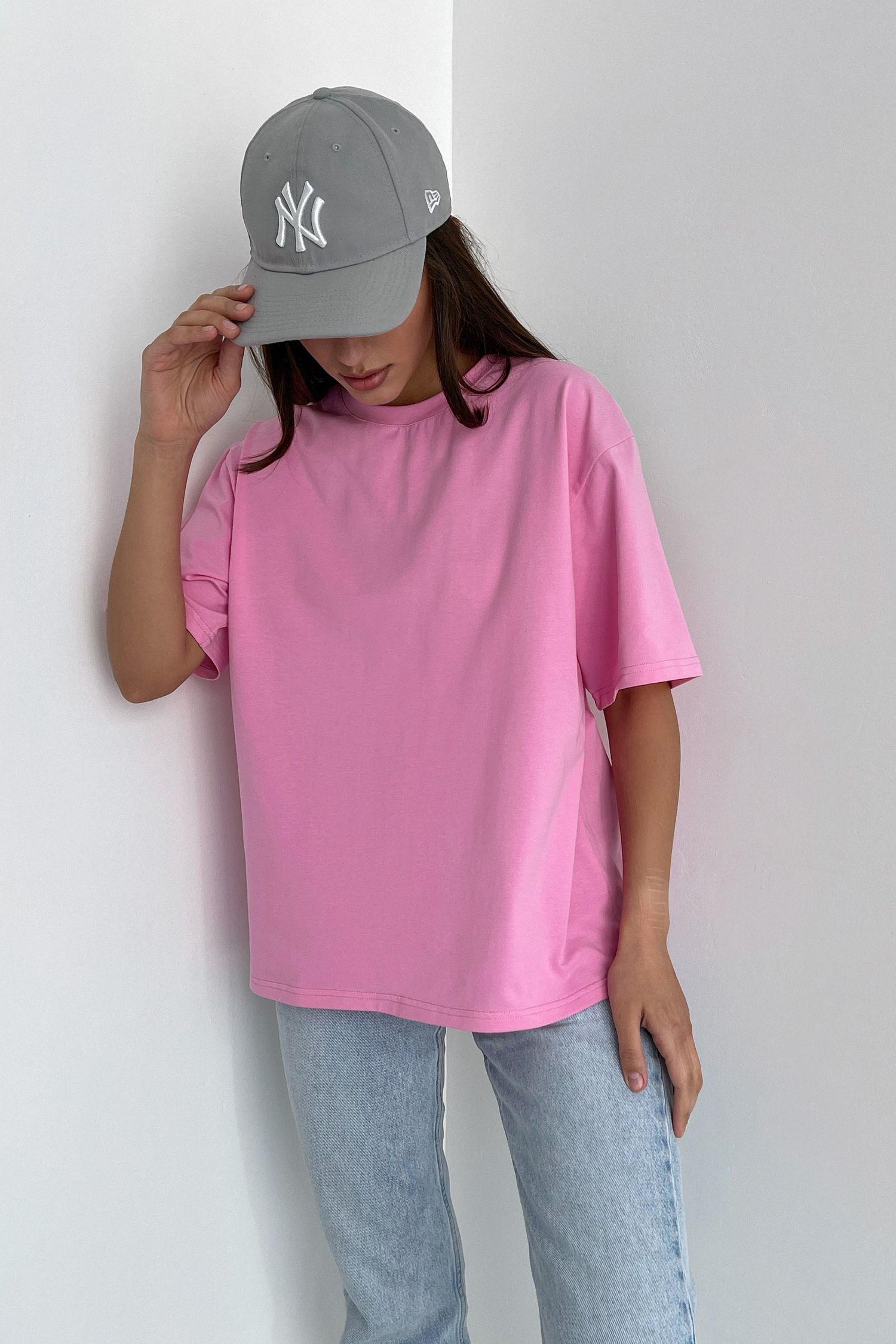 Футболка оверсайз розовая
