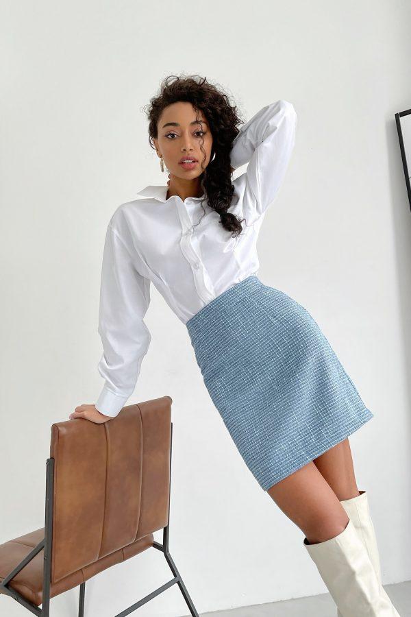 Голубая твидовая юбка - THE LACE