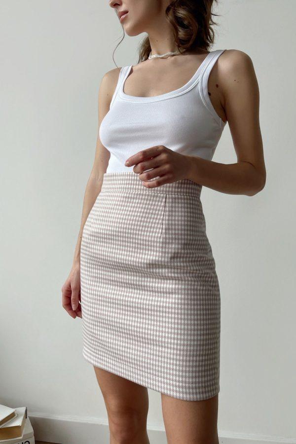 Лиловая мини юбка с узором - THE LACE