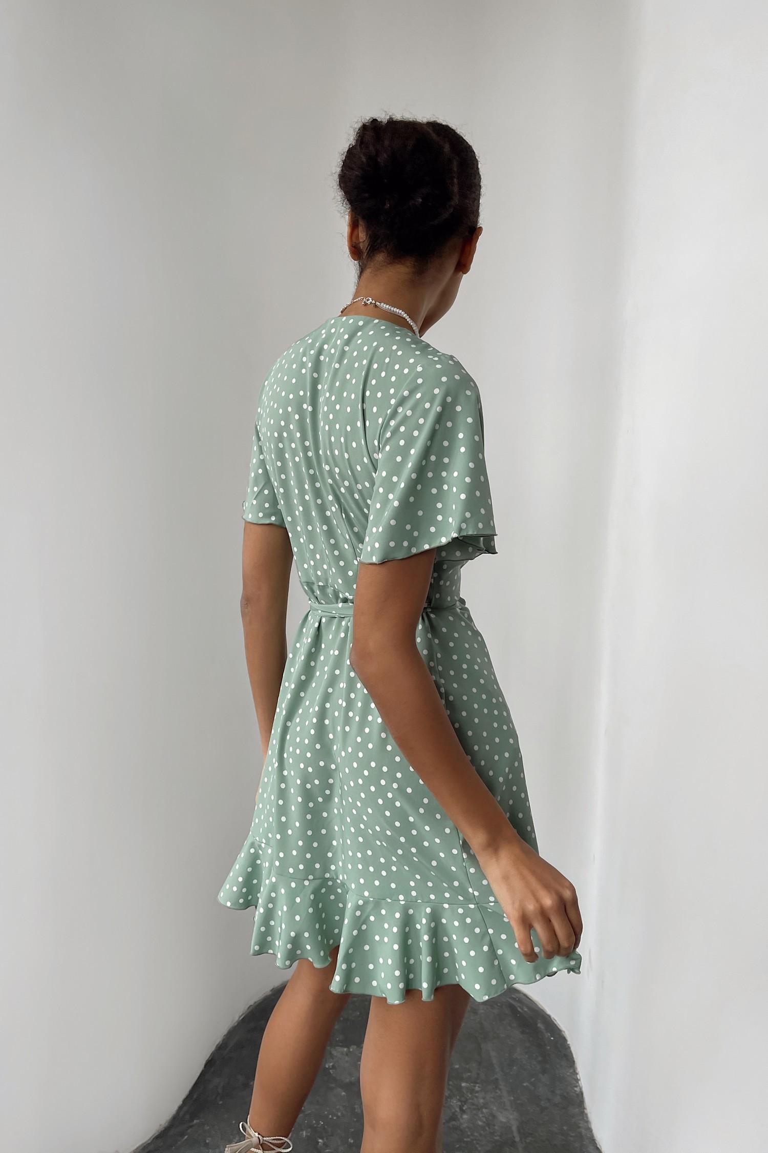 Фисташковое платье мини в горох - THE LACE