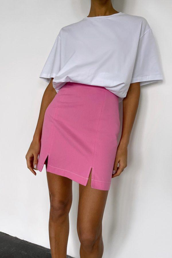 Розовая юбка мини с разрезами - THE LACE