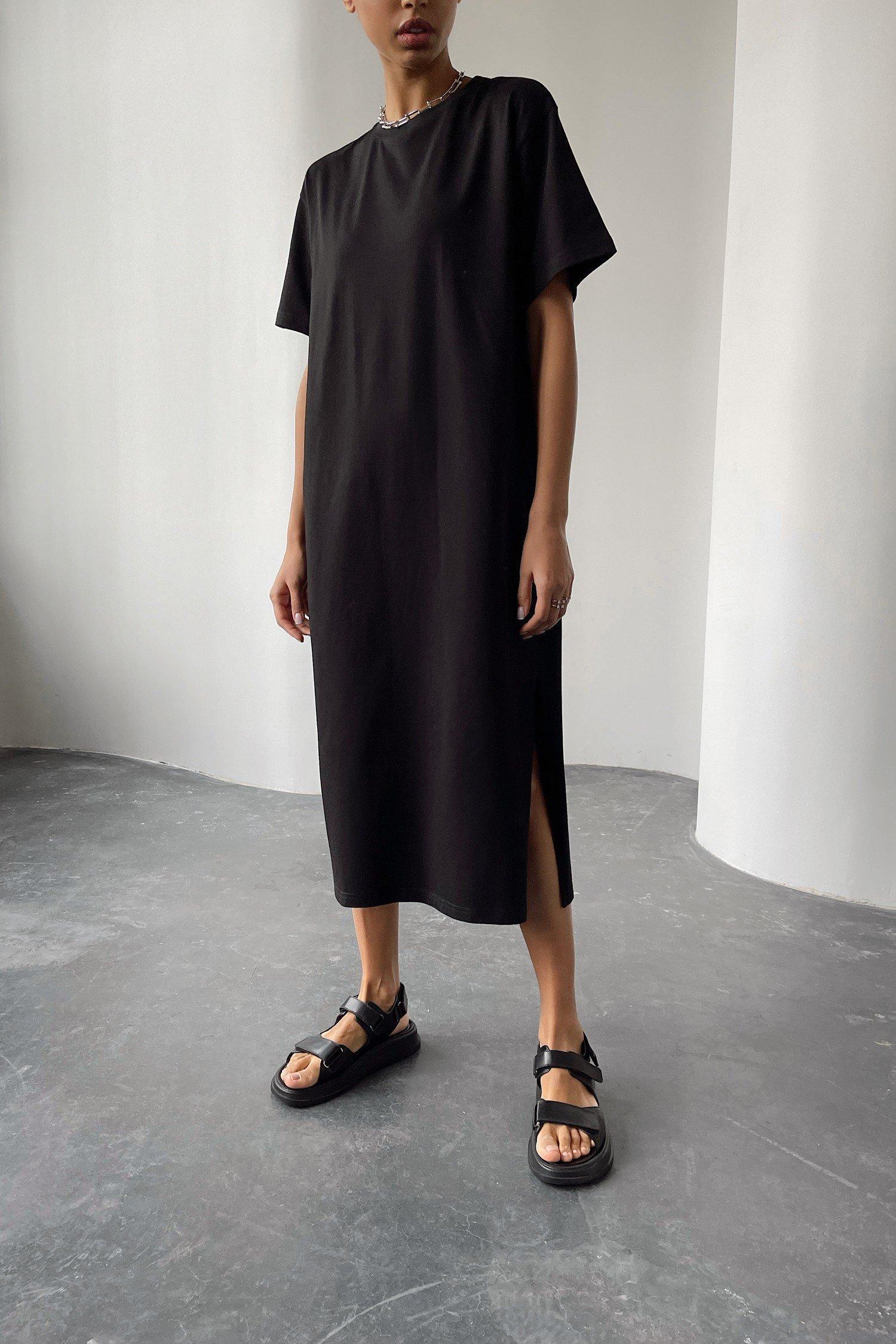Платье-футболка черное - THE LACE