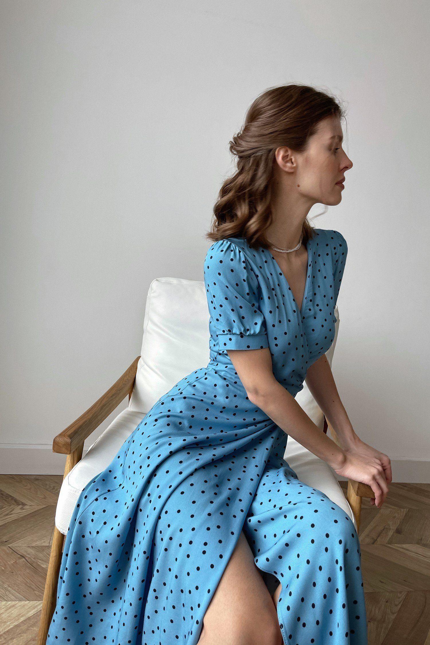 Голубое платье в горох - THE LACE
