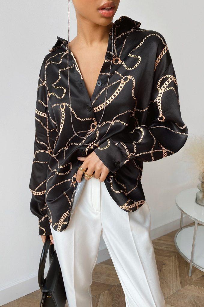 Рубашка с принтом цепи черная - THE LACE