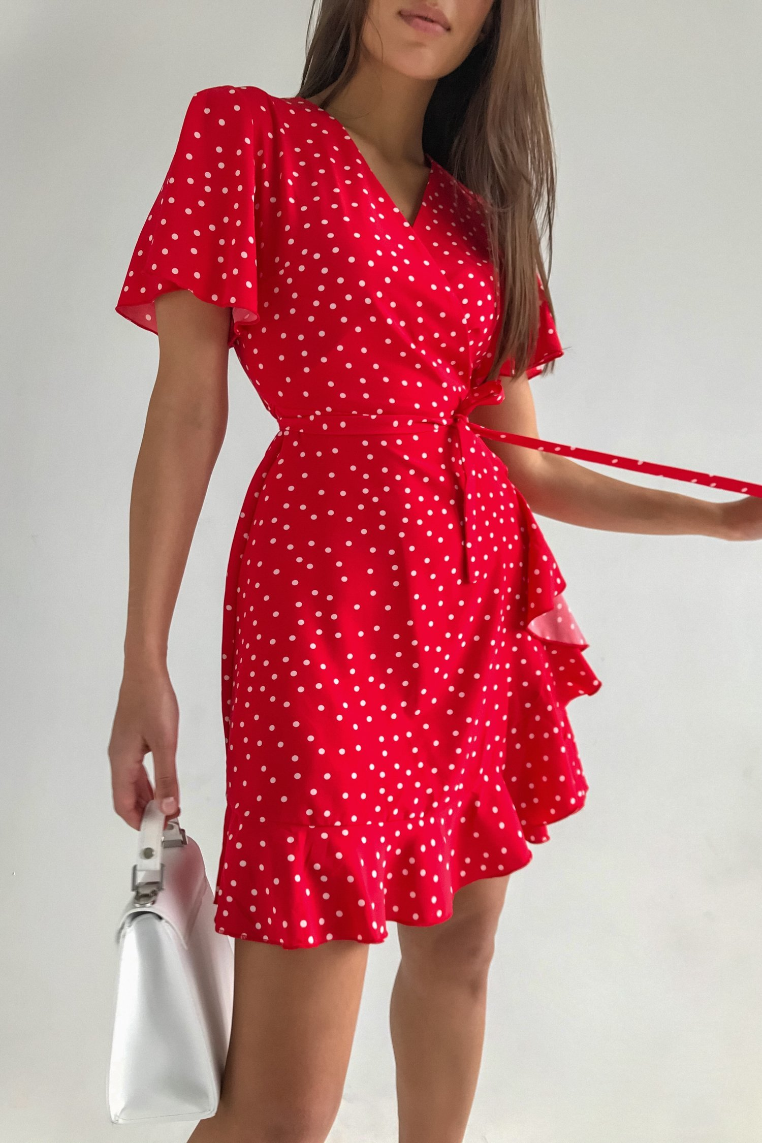 Платье мини в горох с коротким рукавом красное - THE LACE