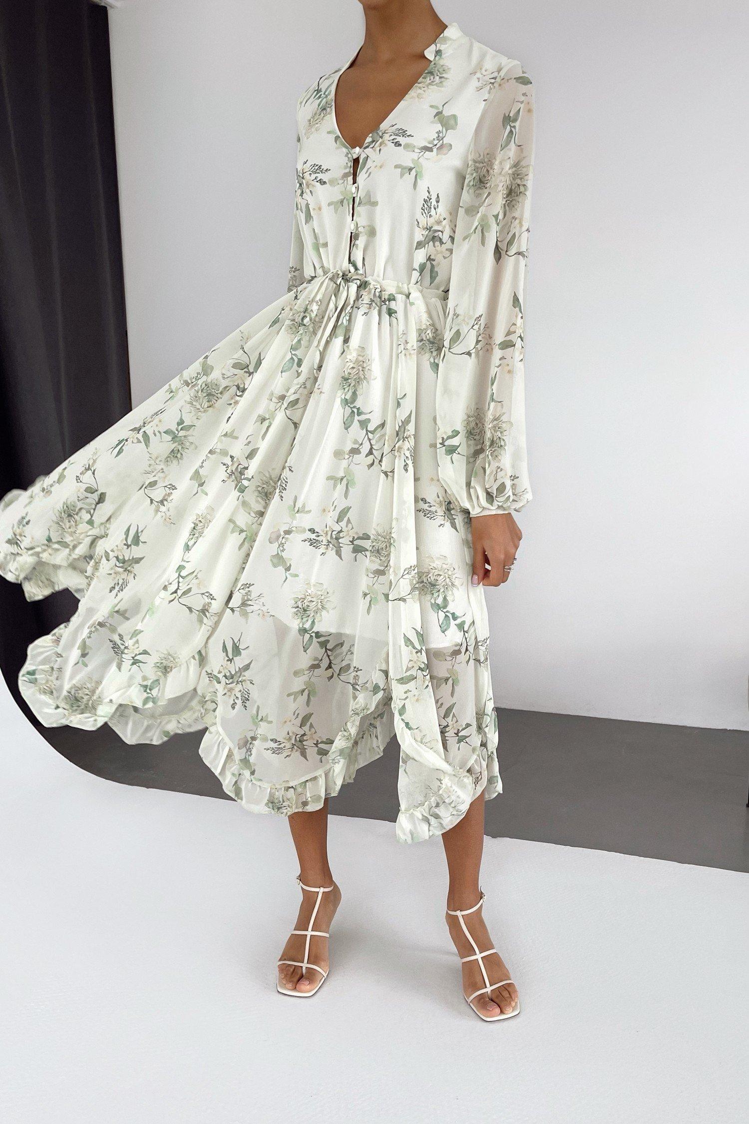 Салатовое платье миди с цветочным принтом Crisantemos - THE LACE
