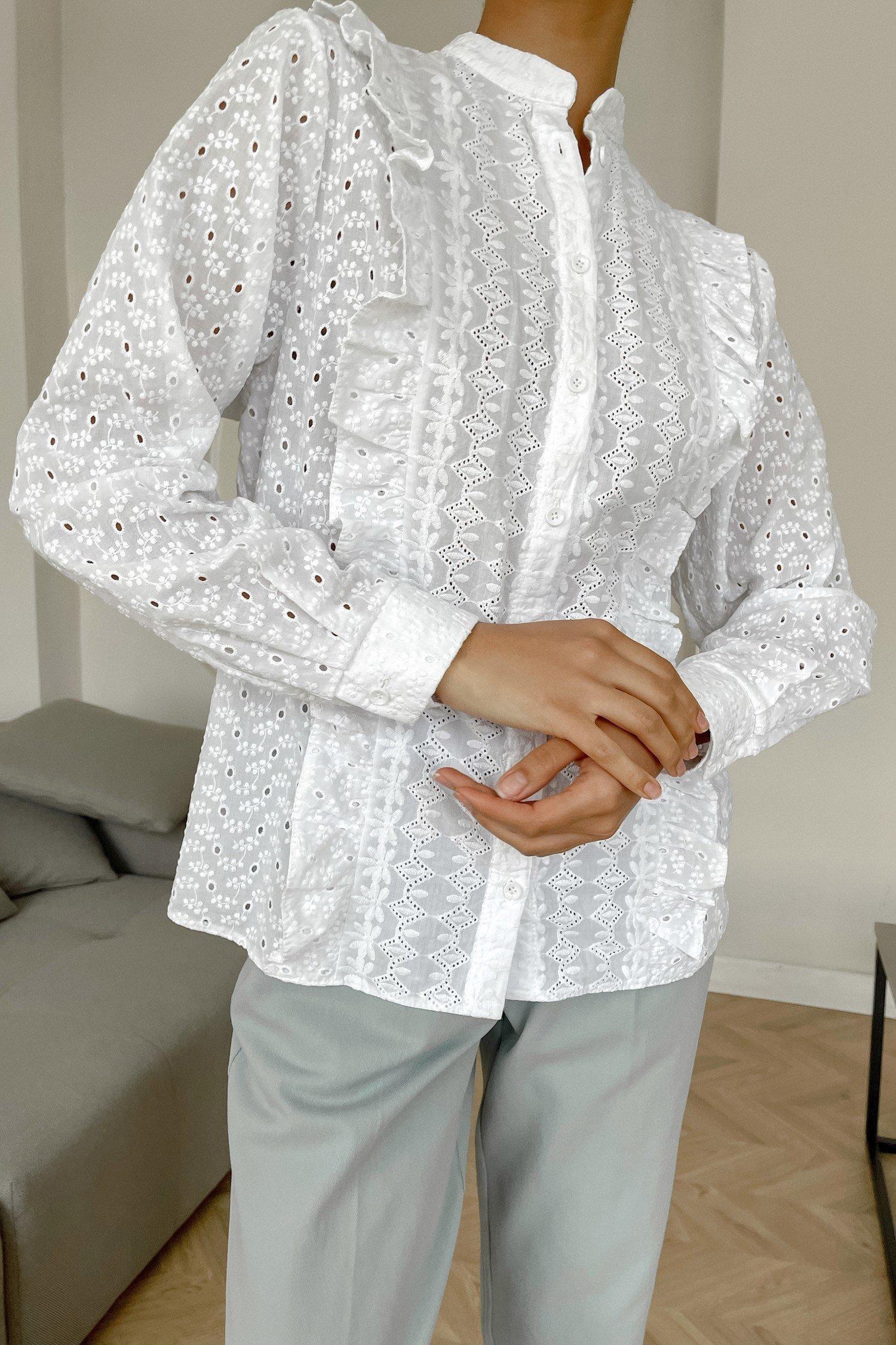 Рубашка с вышивкой белая - THE LACE