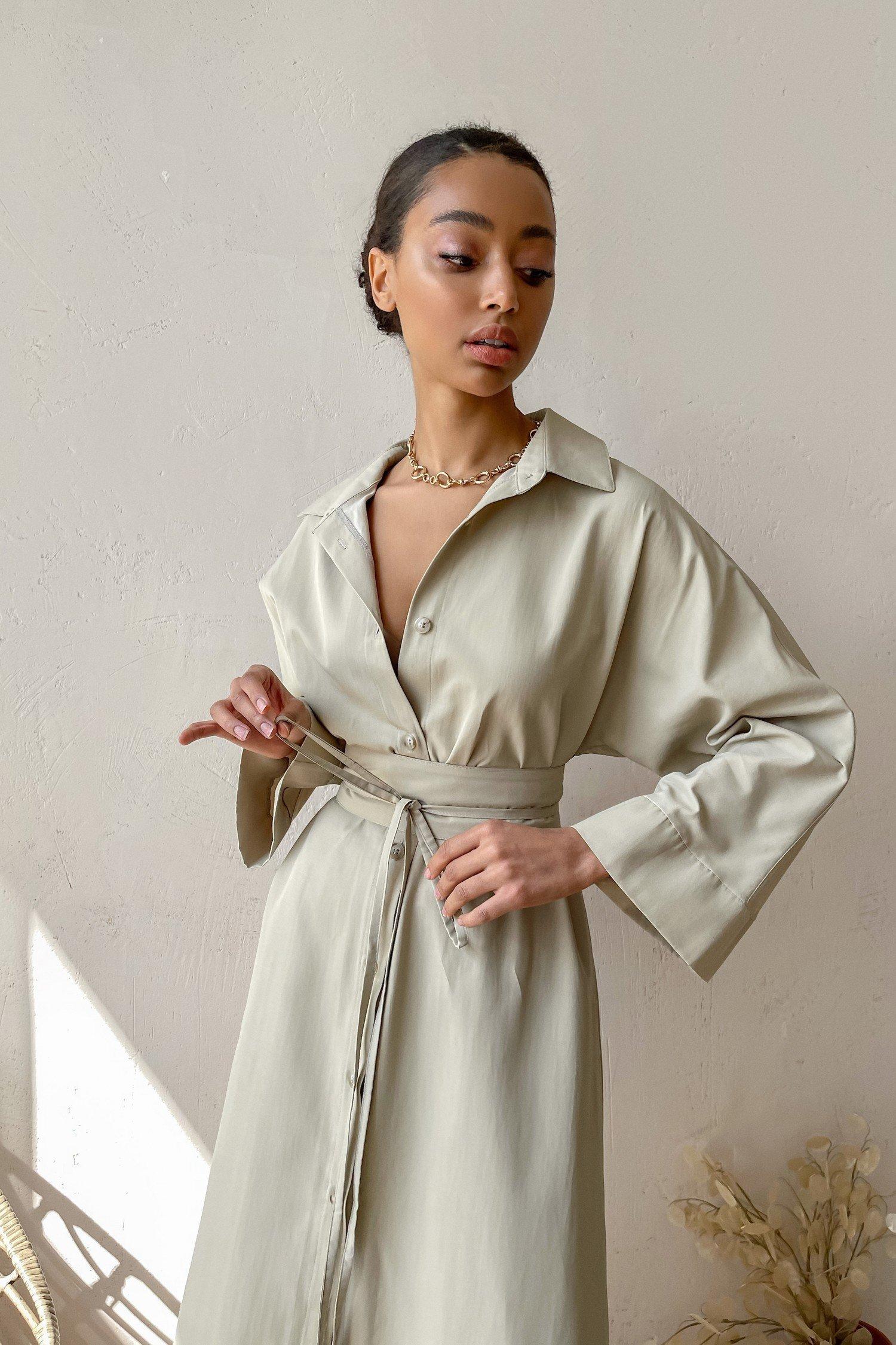 Платье-рубашка миди бежевое - THE LACE