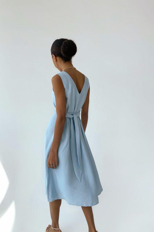 Голубой льняной сарафан - THE LACE