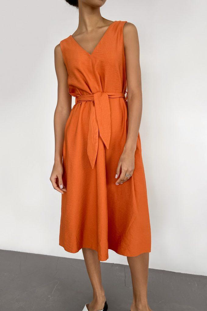 Сарафан из льна с вырезом оранжевый - THE LACE