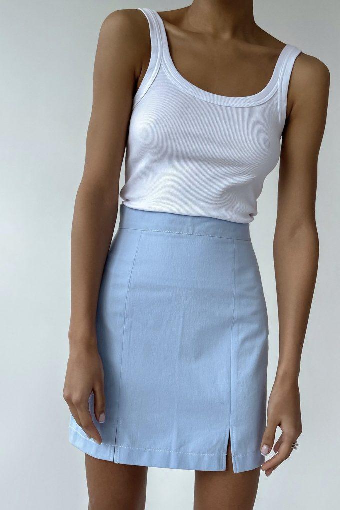 Голубая юбка мини с разрезами - THE LACE