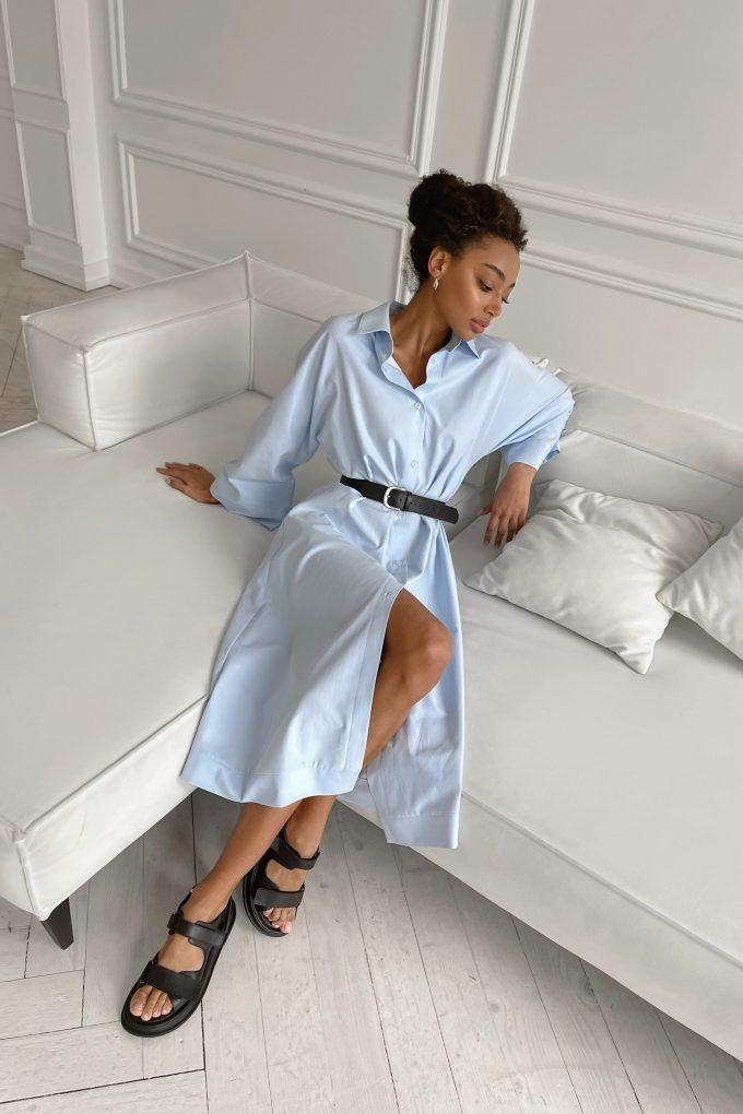 Платье-рубашка миди голубое - THE LACE