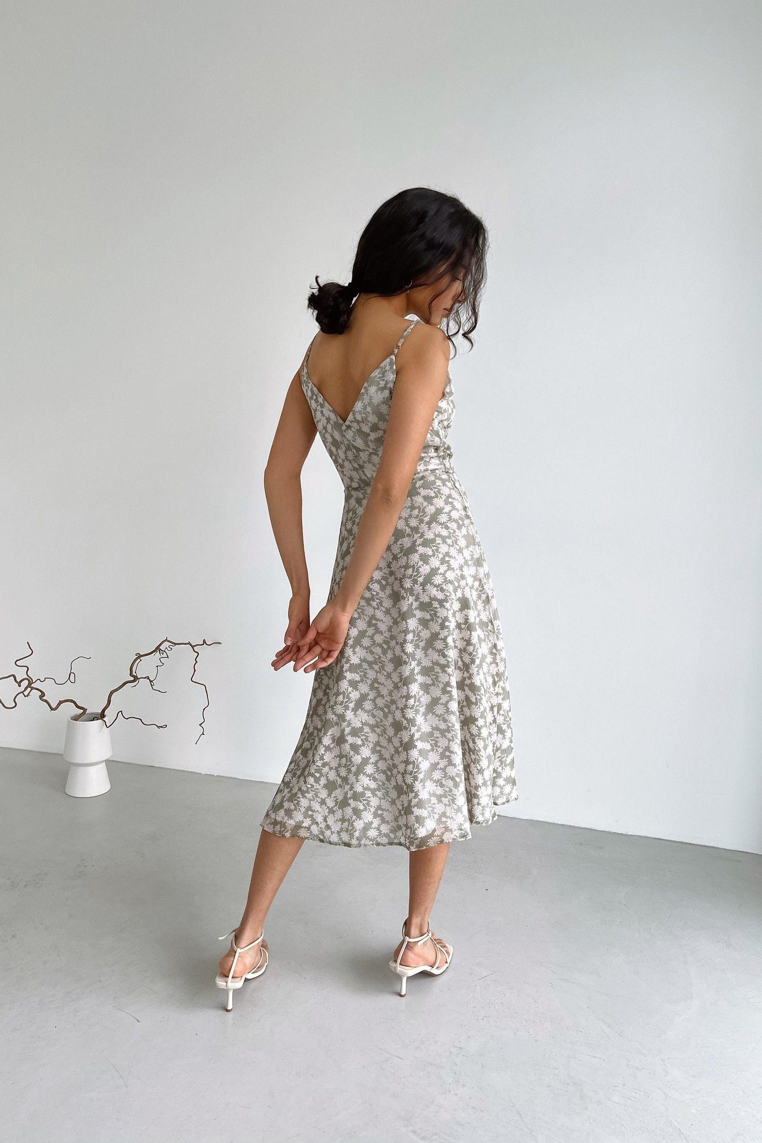 Платье на тонких бретелях оливковое Sensual flowers - THE LACE