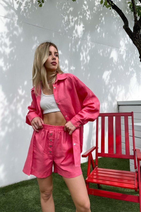 Розовая льняная рубашка - THE LACE