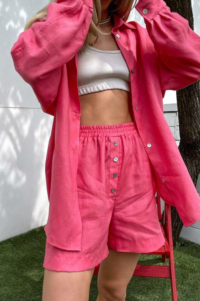 Розовые льняные шорты - THE LACE