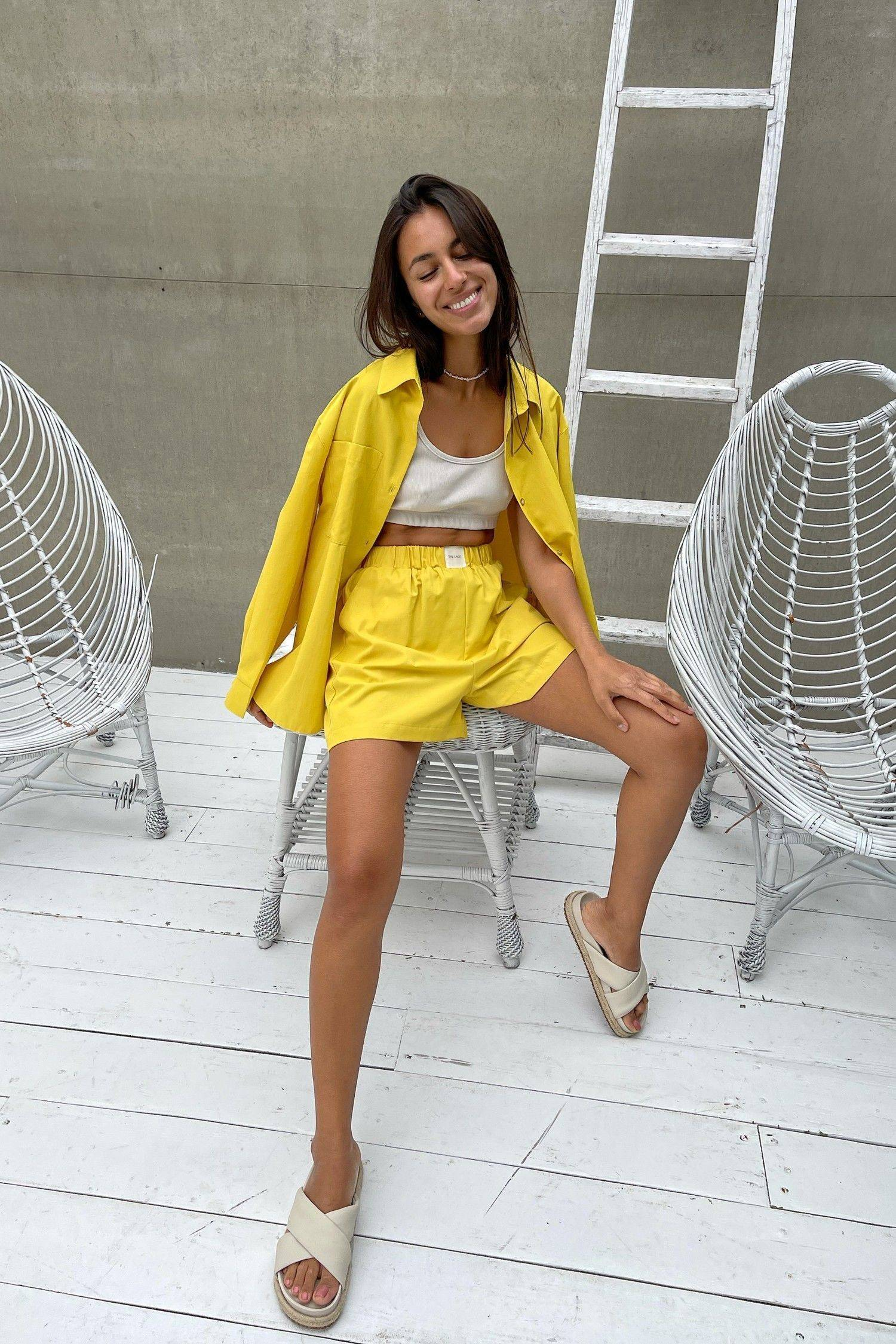 Рубашка оверсайз желтая - THE LACE