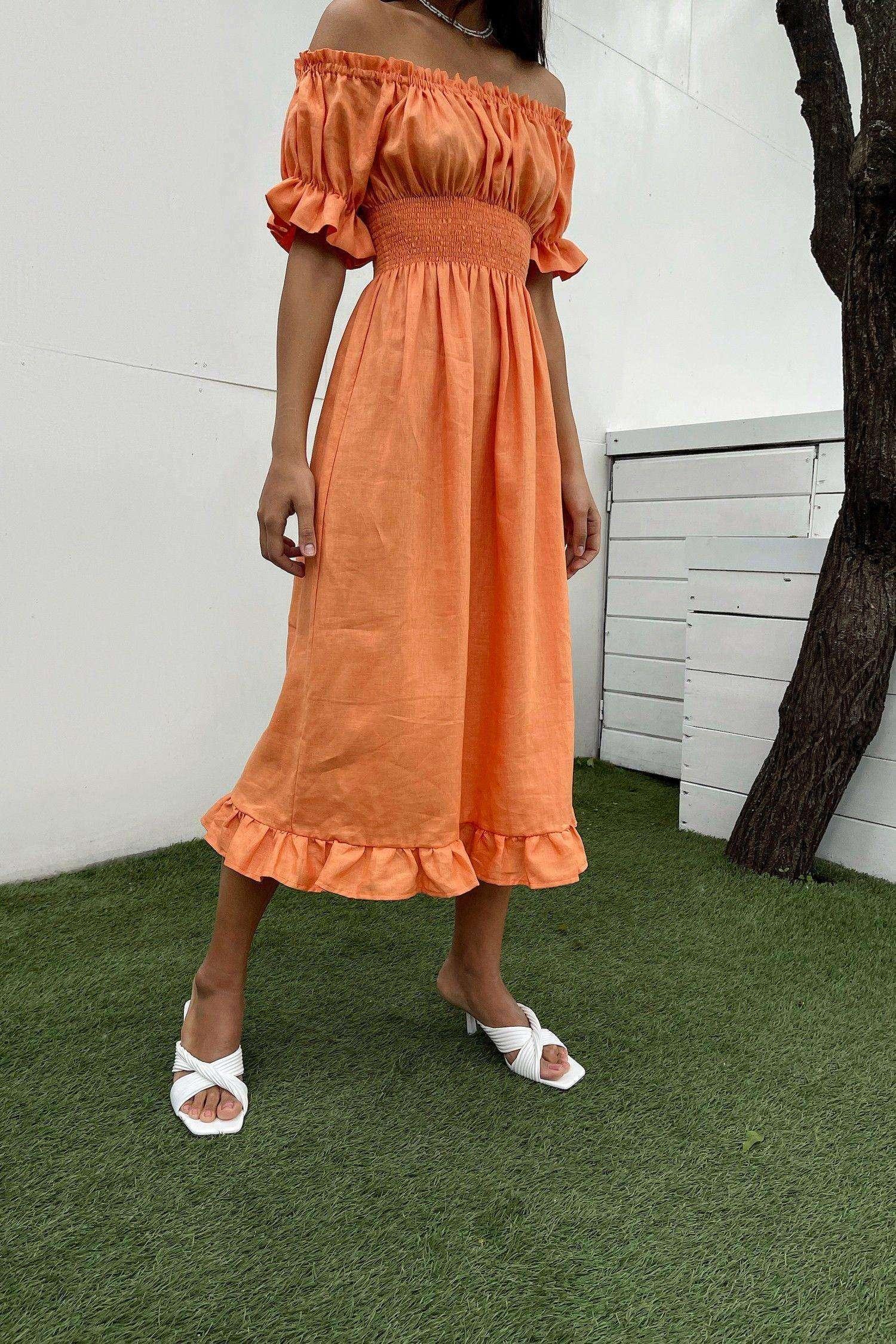 Оранжевое льняное платье - THE LACE