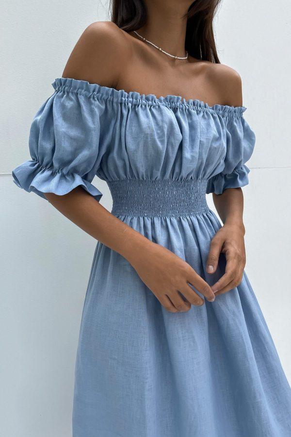 Голубое льняное платье - THE LACE