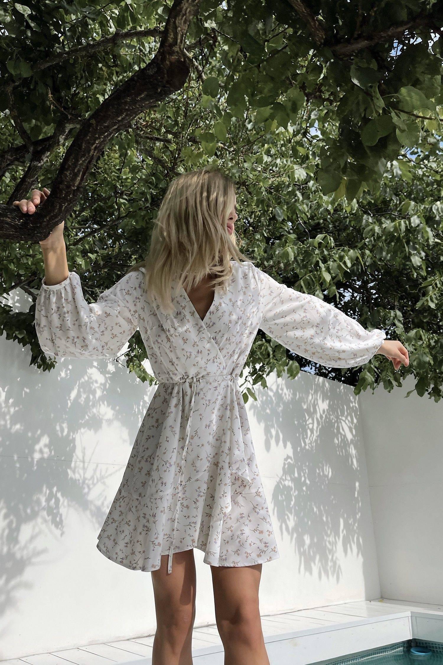 Платье мини с кулиской Blossom flowers - THE LACE