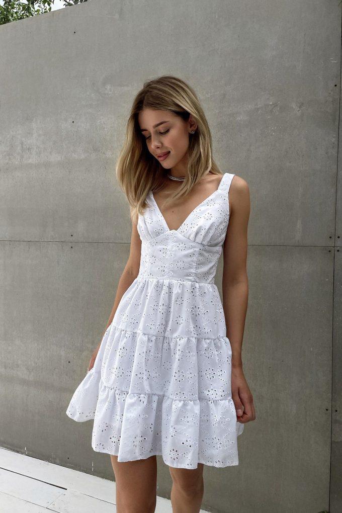 Сарафан мини с вышивкой белый - THE LACE