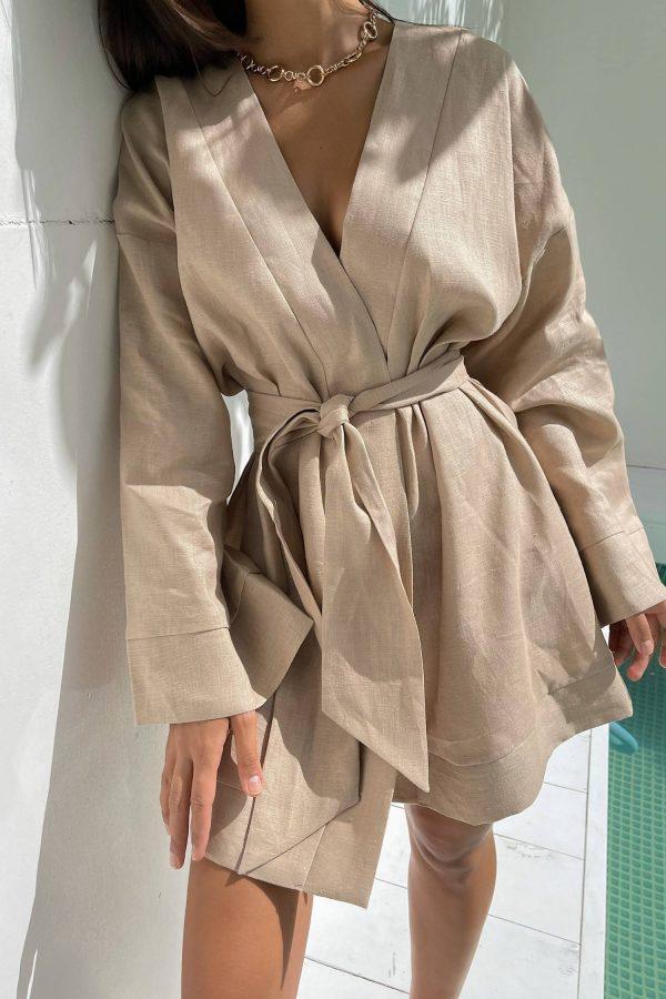 Платье-кимоно льняное бежевое - THE LACE