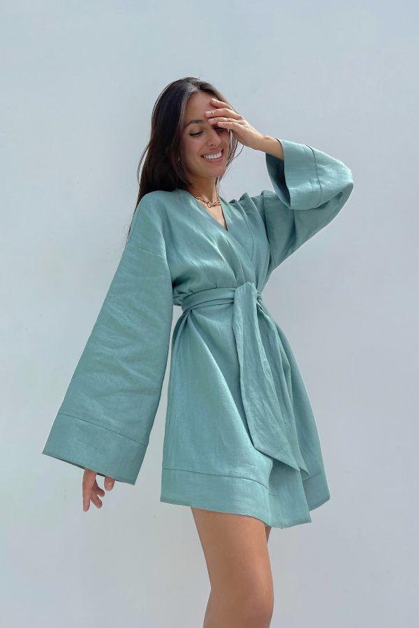 Оливковое льняное платье кимоно - THE LACE