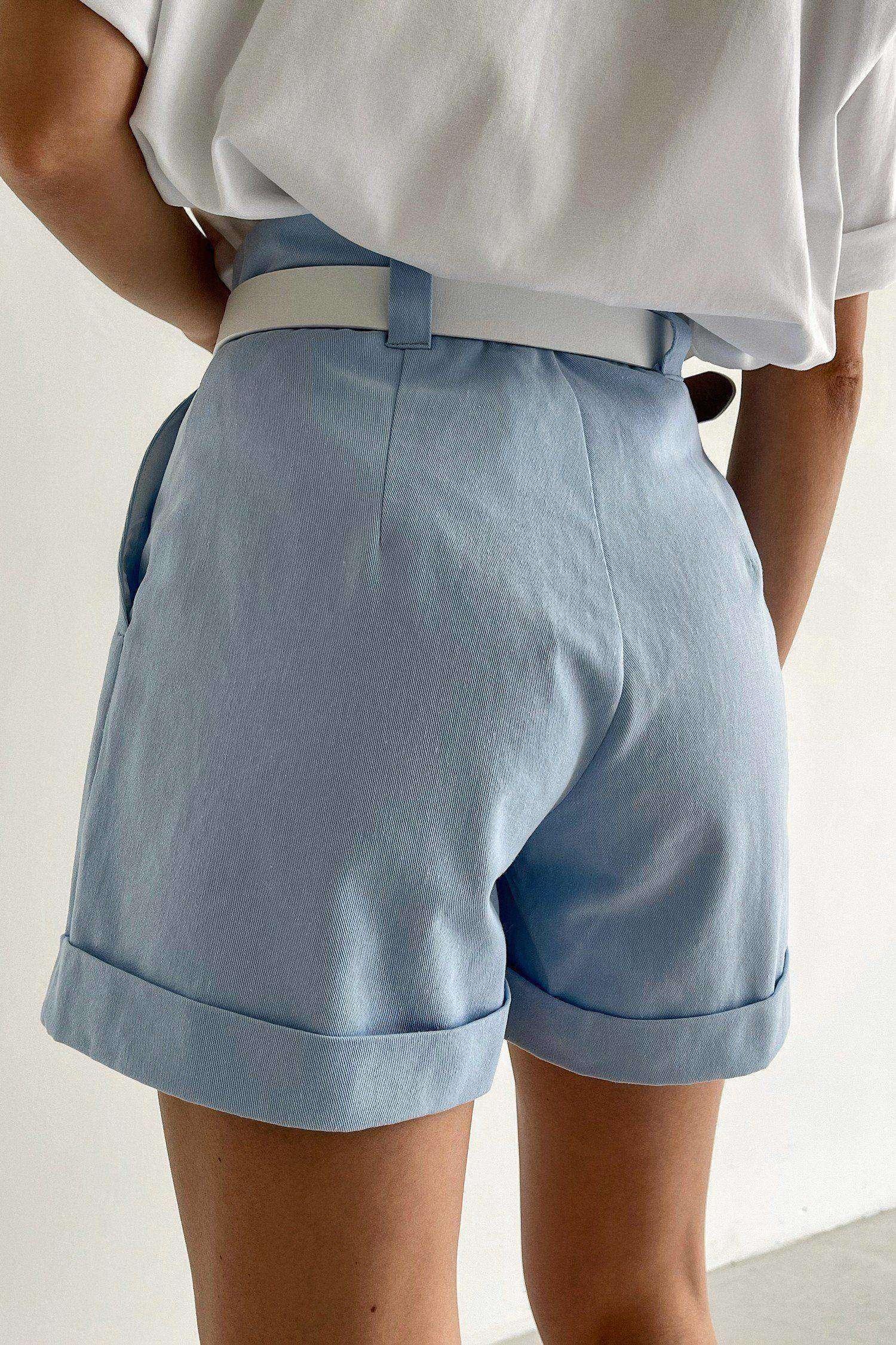 Голубые шорты с защипами - THE LACE
