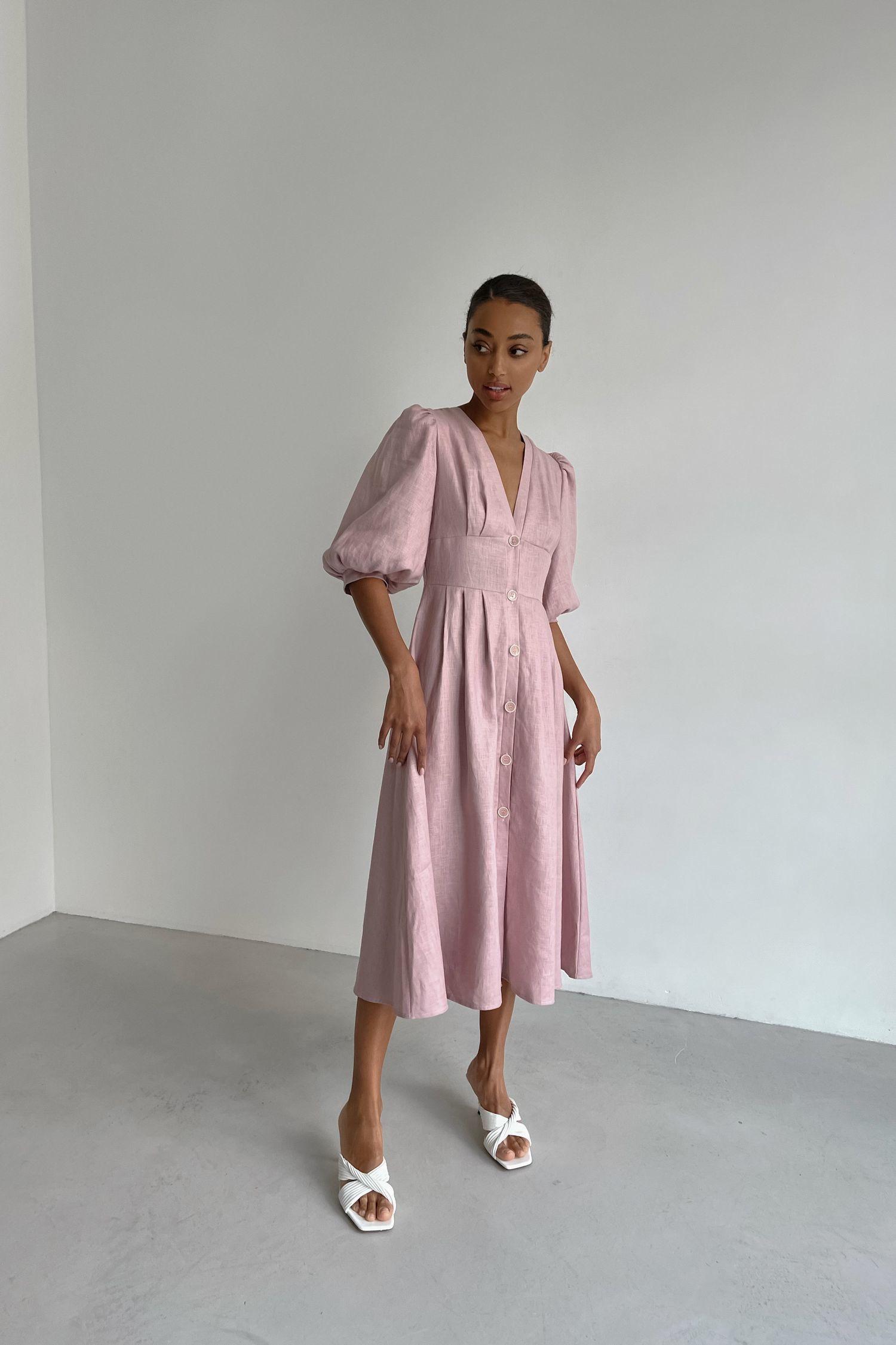 Платье миди из льна розовое - THE LACE