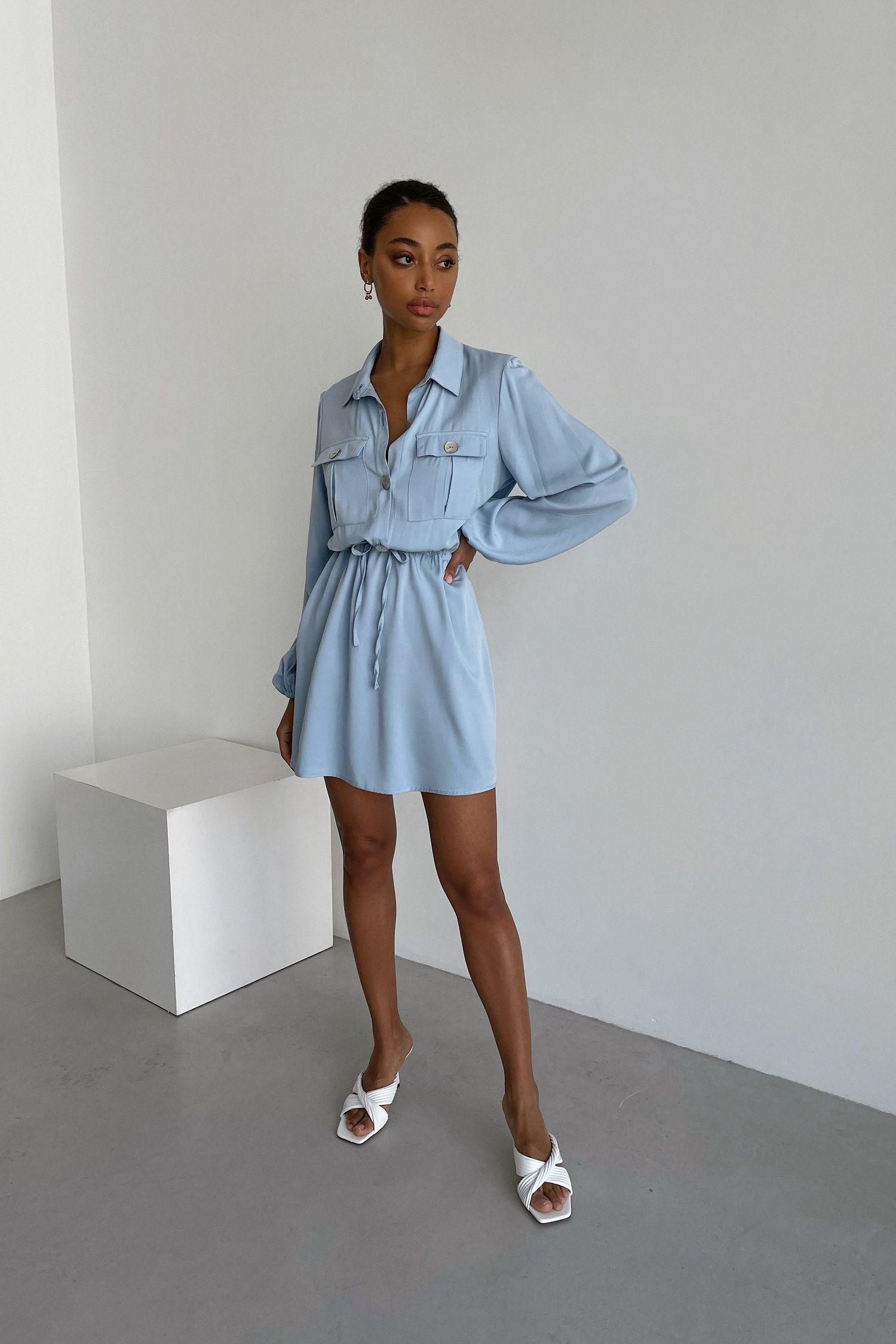 Платье мини с кулиской и карманами голубое - THE LACE