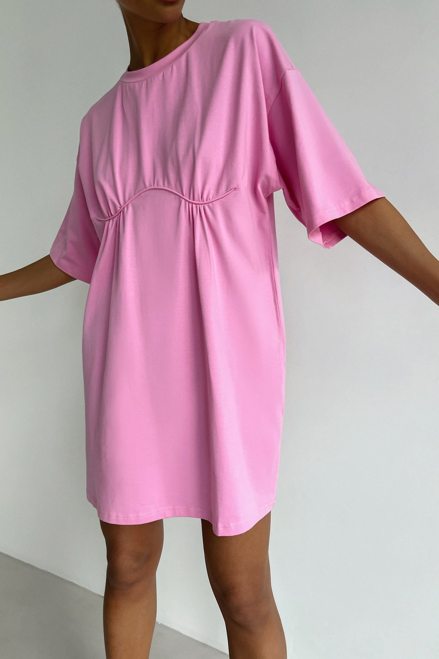 Платье-футболка с декором розовое - THE LACE