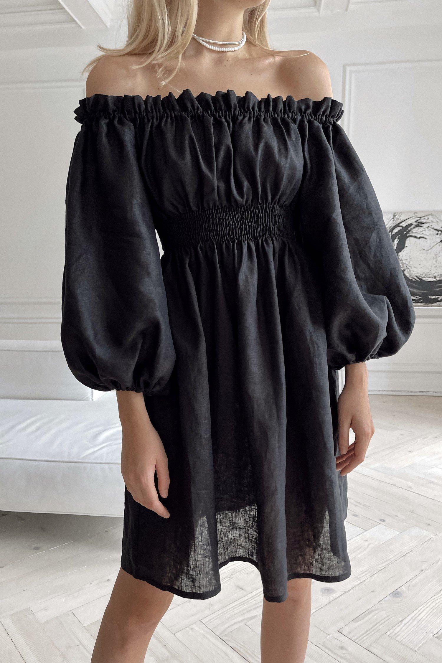 Платье из льна с объемными рукавами черное - THE LACE