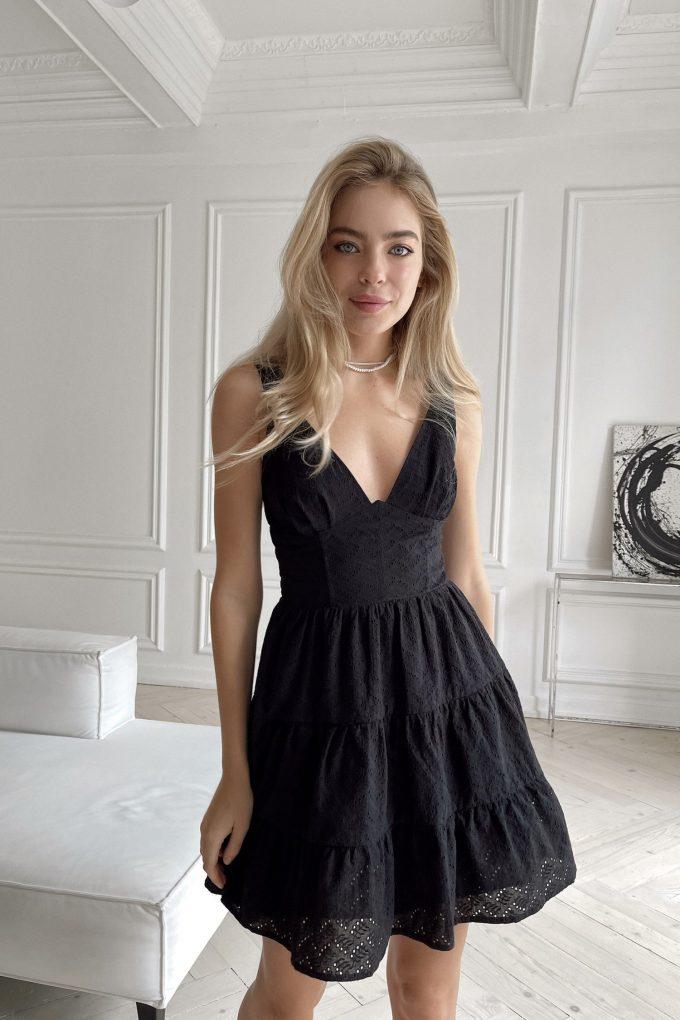 Сарафан мини с вышивкой черный - THE LACE