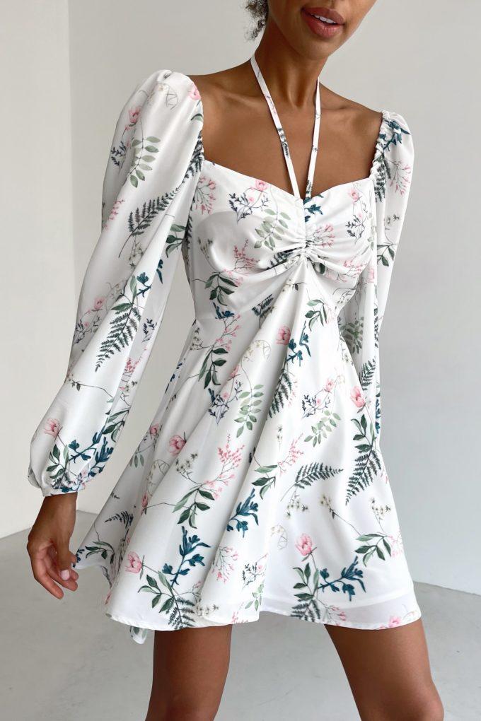 Платье мини с кулиской Garden flowers - THE LACE