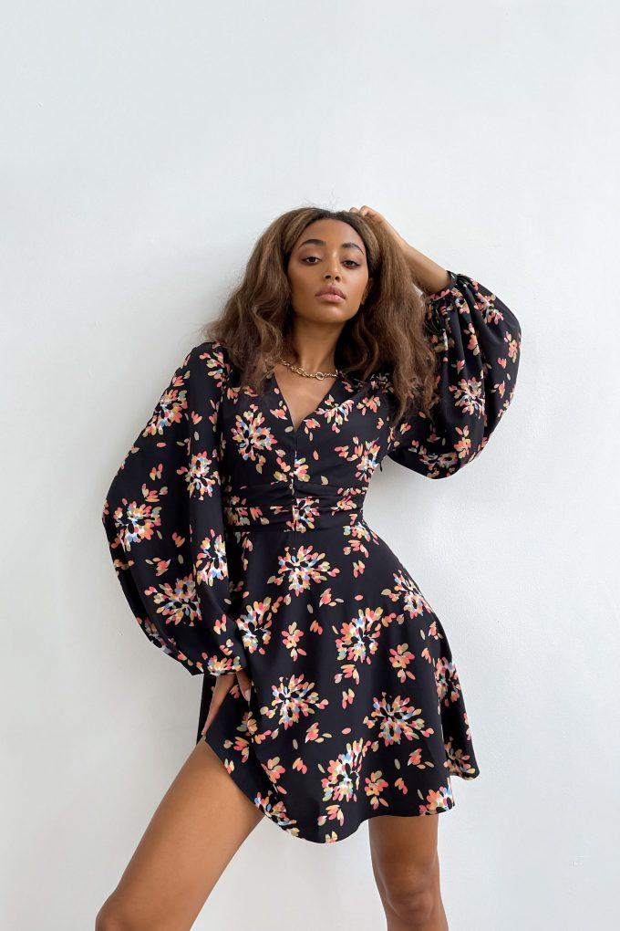 Сукня міні чорна Salute bloom - THE LACE