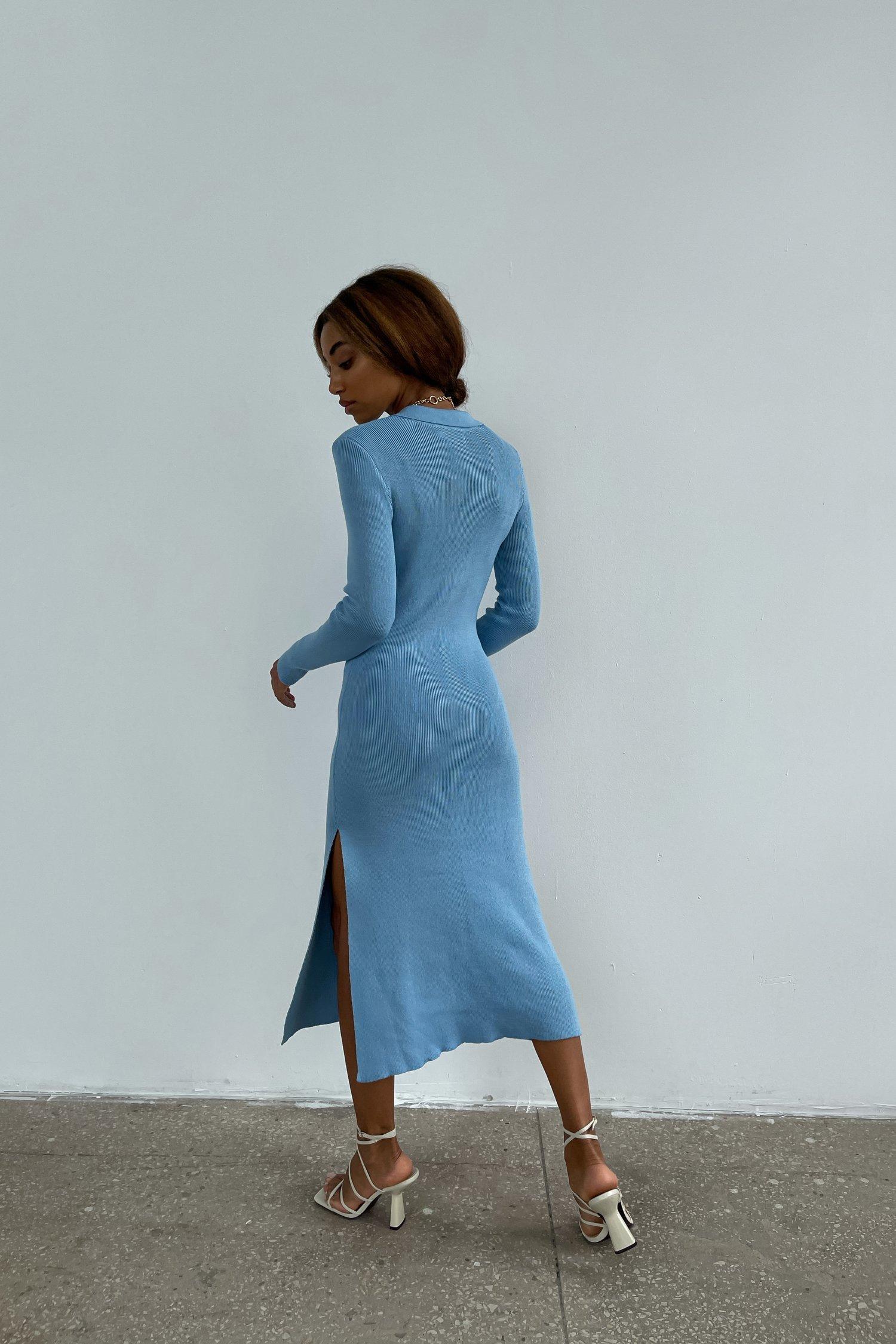 Трикотажное платье поло голубое - THE LACE